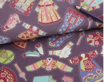Korean Traditional Clothes Hanbok printed made in Korea by the Half Yard