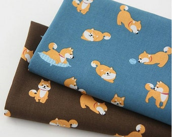 Oxford] Kawaii Shiba Dog Puppy patterned Fabric made in Korea by the Half Yard