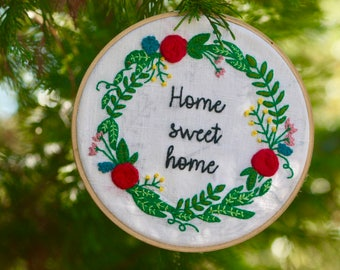 "Drum embroidered ""Home Sweet Home"""