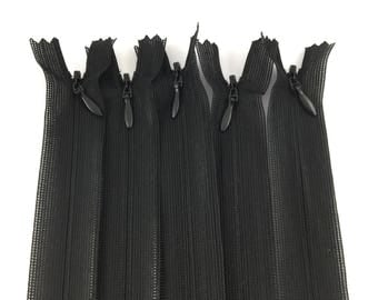 Set of 5 invisible zippers 20 cm black not separable