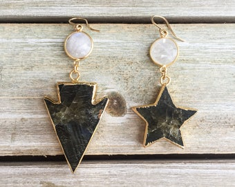 Labradorite star and arrowhead drop dangle gold-plated earrings with gold moonstone connectors - celestial, bohemian boho gifts for her