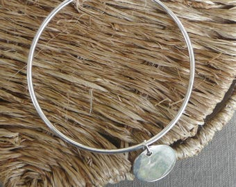 "Silver Bangle Bracelet ""Medal"" 62 mm"