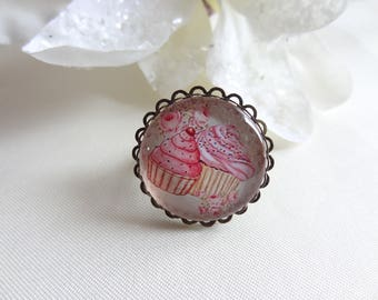 Fancy ring adjustable cabochon resin epoxy cup cake