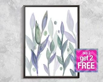 Leaf Watercolor Print, Botanical Printable Art, Branch digital art, Modern Wall Art, Flower Decor, Floral watercolor, branch print, leaf art