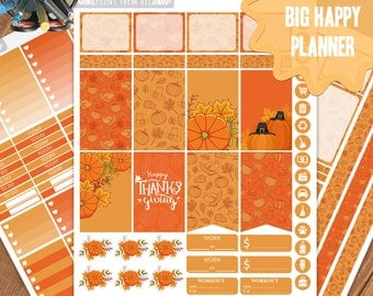Thanksgiving Planner Stickers Printable, Big Happy Planner Stickers, Weekly Planner Kit,Planner Stickers,Big MAMBI Planner Stickers, Digital