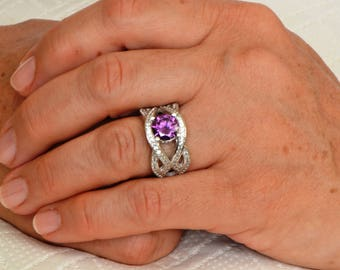 925 Sterling Silver Amethyst Ring, Febuary Birthstone Ring, Bridal Ring, Engraved Ring, Engagement Ring, Anniversary gift for Women