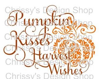 Pumpkin kisses svg cut file / Harvest wishes svg / fall svg / dxf / eps / pdf / fall clip art / pumpkin clip art / pumpkin svg / scrapbook