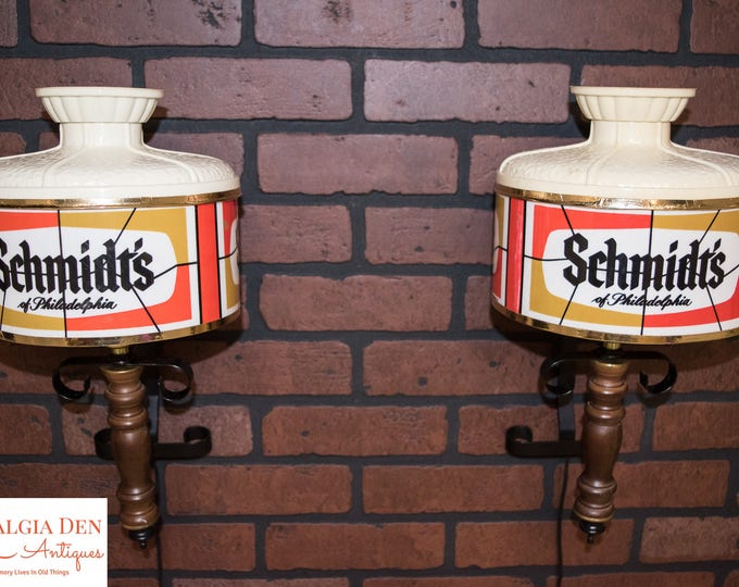 Schmidt's Beer Lights | Rare Schmidt's Beer Wall Sconce Lights | Retro Breweriana