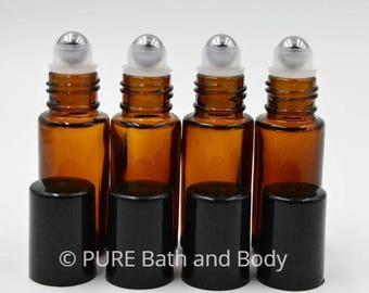 5ml Amber Glass Roll on Bottles, GLASS Roller Balls, Black Caps, Rollon Bottles for Essential Oils, Perfume Bottles, 5ml, Set of 6
