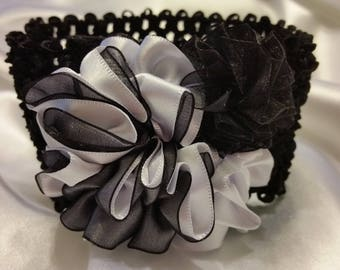 Girls Black and White Princess Headband