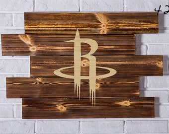 Houston Rockets Wood Sign Houston Rockets Wall art Houston Rockets Gift Houston Rockets Birthday Houston Rockets Party wooden