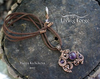 boho jewelry, wire wrap pendant, copper necklace, wire wrapped jewelry, wire wrapped pendant, wire wrap, copper jewelry, copper pendant