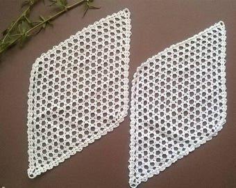 Тwo white Doilies crocheted, Two crochet doilies,  Rhombus  Vintage 1972,  Crocheted Doilies,  Handmade Doilies