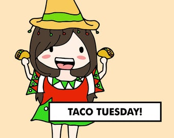 TACO TUESDAY Stickers / planner stickers, food stickers, eating stickers, mexican food, burrito sticker, dinner stickers / SD18