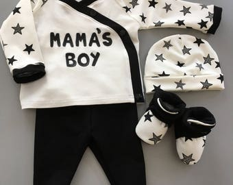 Mama's boy clothing set /baby boy clothes /baby shower /gift for kids /boy footies /newborn boy /take home outfit
