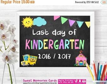 ON SALE Last Day of Kindergarten Sign, Last Day of School Chalkboard Sign Printable, Photo Props, Kindergarten Graduation Sign, Instant Down
