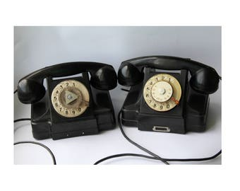 Pair of Soviet phones 1963. Soviet telephone. Vintage phone. Vintage telephone. Rotary Dial Phone. Black rotary phone