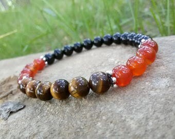 Protection bracelet Healing stones bracelet Tiger eye Carnelian Onyx bracelet Energy Gift for Capricorn birthstone October Virgo bracelet