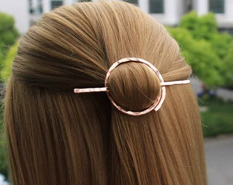 Open Circle Hair Slide, Minimalist Hair Pin Hair Stick, Hair Brooch Hand Forged Hair Barrette, Geometric Hair Holder, Hair Accessories, Gift