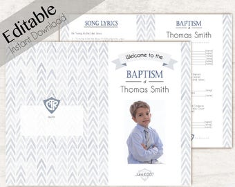 Baptism Program, Editable PDF, LDS Printable Digital, Songs Handout Boy Baptism photo, Blue Green  Watercolor, Program Photo