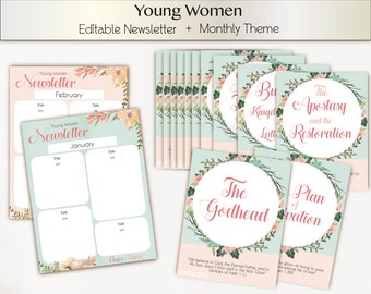 Editable Newsletter Young Women LDS, Monthly Theme 2018 Young Women, Instant Download, Young Women Theme 2018, YW 2018 Mutual Theme