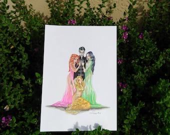 Dracula & His Brides Illustration - Van Helsing -  Original Artwork