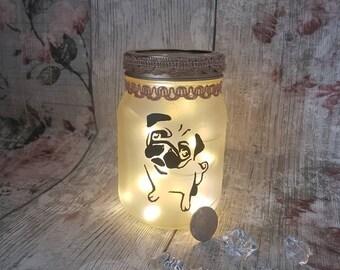 Hand painted Pug lantern, pug lover,pug gift, Dog lover gift, Pug decor, pug life, fairy lights, jar light, LED jar lamp, lantern