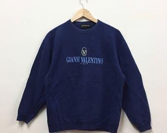 Rare!!! Gianni Valentino Sweatshirt Big Logo Embroidery Logo Spellout