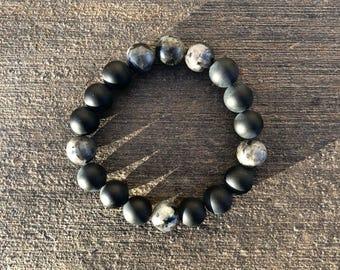 Onyx and Black Labradorite Bracelet 10mm