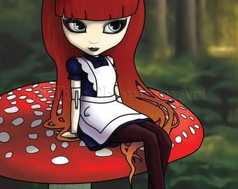 Alice Waiting - Digital Painting - Limited Edition Giclee Print, signed & numbered, of a gothic Alice sitting on a mushroom...
