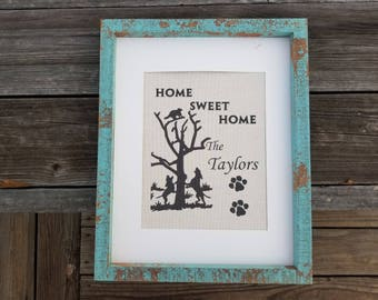 Coon hunting decor, coon hunting, housewarming gift, home decor, wedding gift, rustic decor, burlap prints