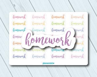 Homework Planner Stickers - School - College - Erin Condren Life Planner - Happy Planner - Personal Planner - Mambi - Matte or Glossy