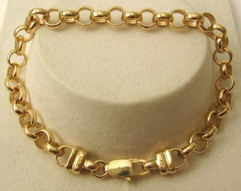 Genuine SOLID 9K 9ct YELLOW GOLD Round Belcher Bracelet with Parrot Clasp 19 cm