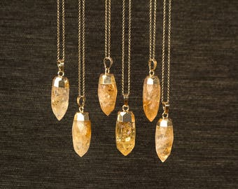 Citrine Necklace Crystal Point Pendulum Necklace Yellow Crystal Necklace Raw Stone Necklace raw Crystal Layered Necklace gift teen Bullet