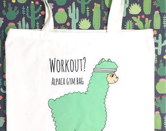 Alpaca Bag Gym Fitness workout Funny Tote Bag Personalised option, shopping, grocery