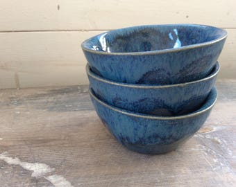 Handmade ceramic small blue bowl, perfect for dipping, prep bowl, tea, nibbles. Modern rustic pottery