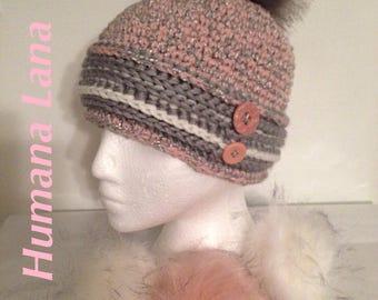 Hat, winter hat with faux fur Pompom
