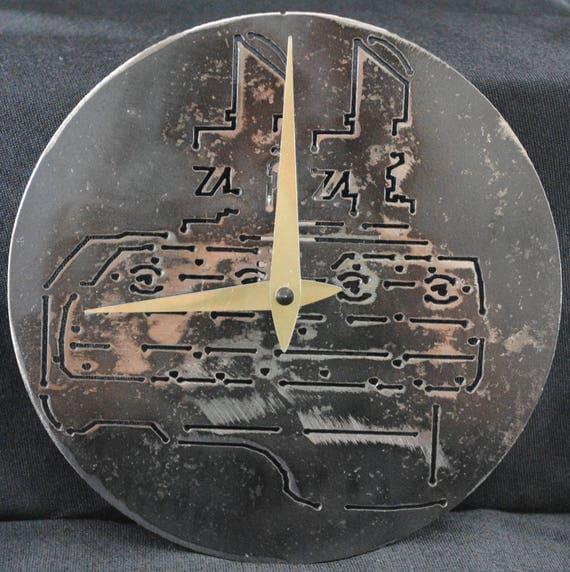 V-8 Engine Clock, Metal Wall Clock, Auto Wall Clock, Rustic Wall Clock, Office Decor, Car Shop Decor, Man Cave Wall Decor, Automotive Art