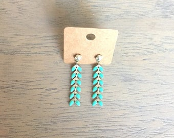 Earrings turquoise and silver spikes