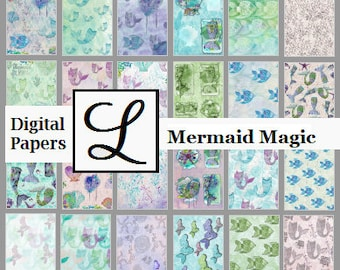 SALE 50% OFF - Mermaid Magic, gorgeous digi (digital) papers for scrapbooking and card making  - instant download in PDF format.