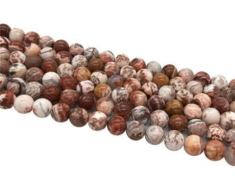 1Full Strand 8mm Crazy Lace Agate Round Beads, Red Crazy Lace Agate Gemstone For Jewelry Making