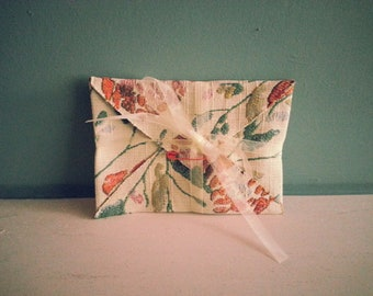 Rustic Floral Handmade Fabric Envelope / Gift Pouch - ideal for invitations, gift vouchers, your own handmade cards