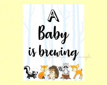 A Baby is Brewing Sign, A Baby is Brewing Decoration, Printable, Baby Shower Party, Woodland Design style