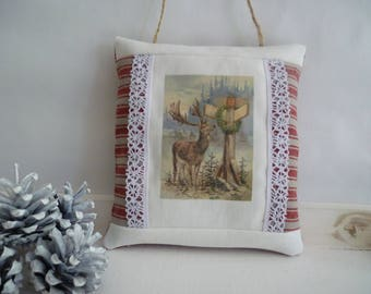 Christmas hanging cushion deer on printed fabric and lace gift or christmas décoration