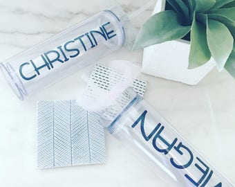 Set of Six Personalized Tumblers | Gift for Her | Bridesmaid Gift | Monogram Water Bottles | Personalized Water Bottles