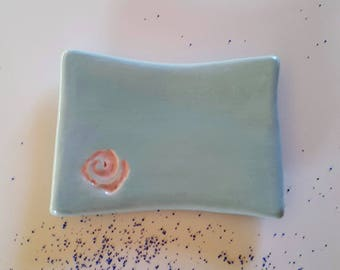 Indigo blue SOAP dish ceramic footed / / gift for MOM / / mother's day / / gift for grandmother / / pave blue SOAP