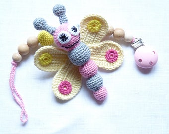 Baby girl pacifier clip / Butterfly teething toy / Crochet dummy clip / Pink yellow clip / Dummy clip chain / girl shower gift