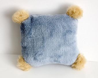Cat toy catnip Kicker Cushion pillow grey with pompons, kitten kick toy, light blue cat toy, play cat toys, organic catnip toys, soft toy
