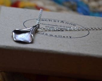 Mothers day, handmade fine silver Delicate flower petal necklace