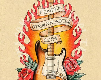 FENDER STRATOCASTER, 1954. guitar, Flash tattoo. Old school tattoo. tattoo illustrations, Instant Download. Printable Illustration.